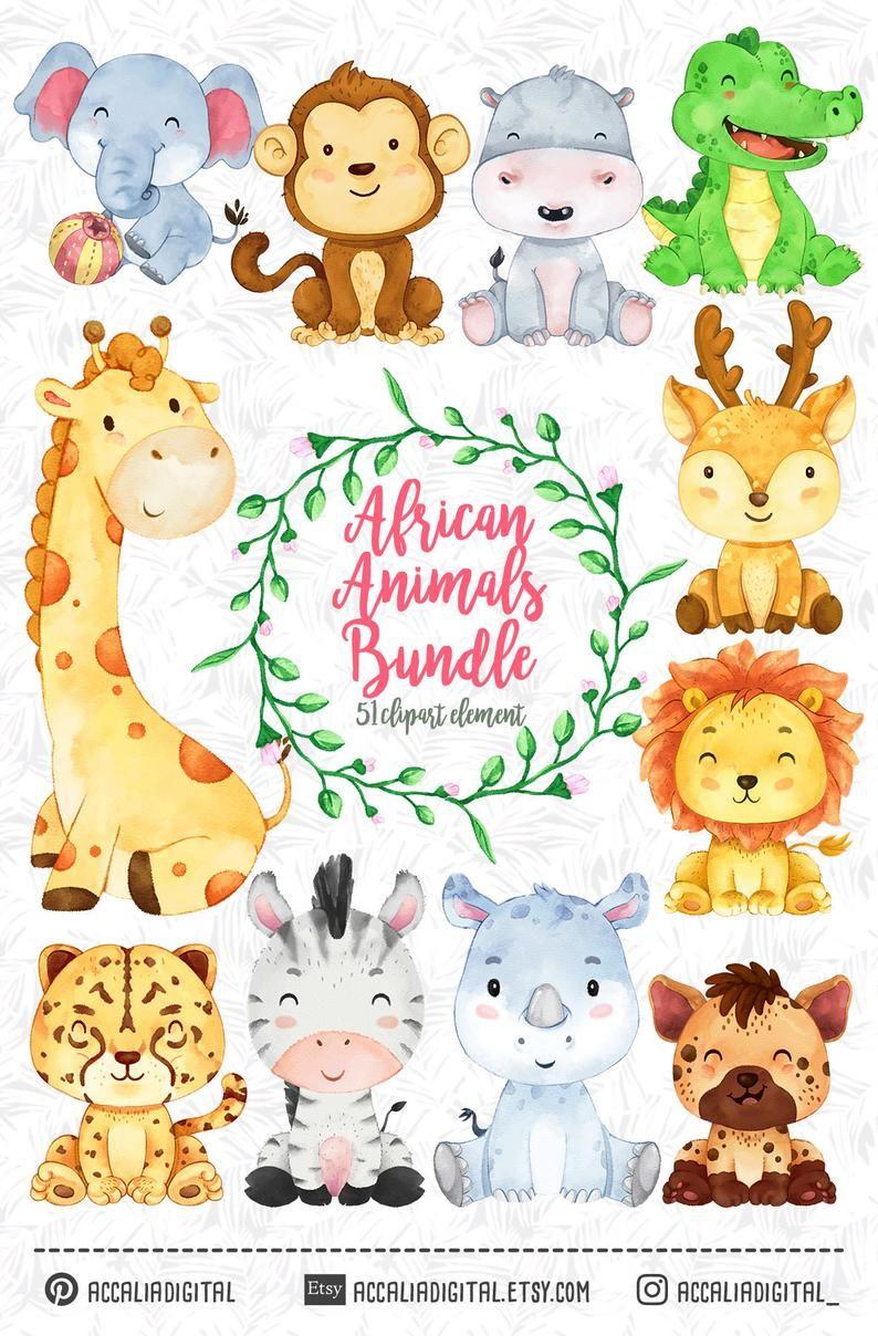 African Animals Clipart Watercolor Animal Animals Buddies Etsy Cute Animal Clipart Animal Clipart Safari Baby Animals