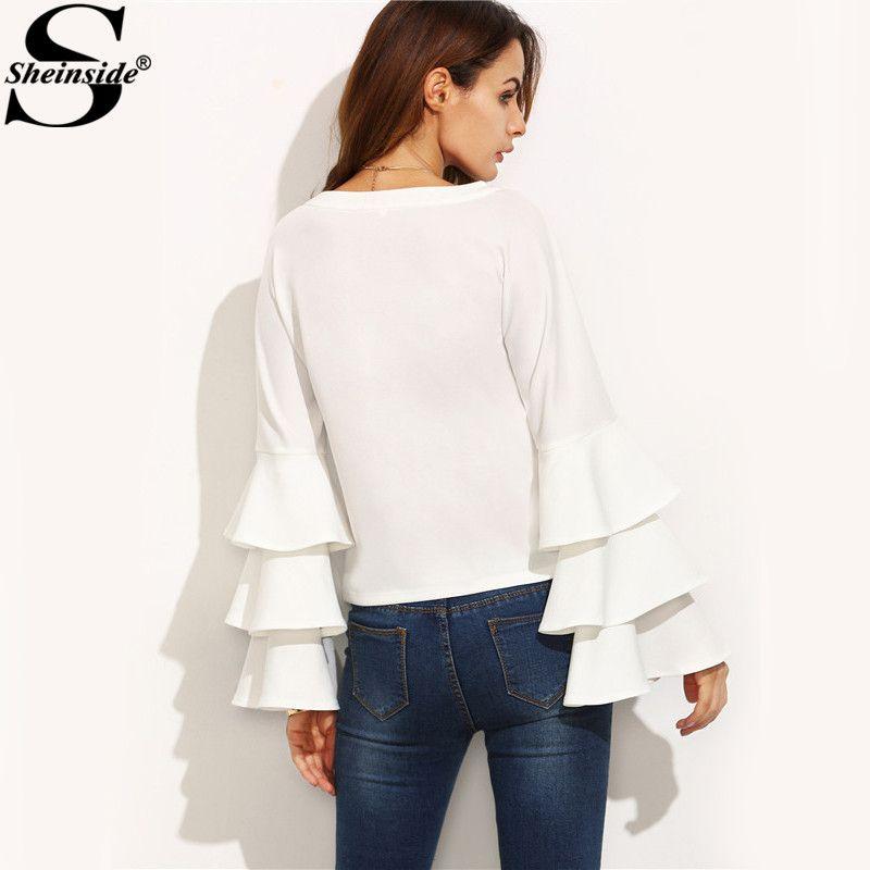 f5a236b38387 White Round Neck Ruffle Long Sleeve Shirt Ladies Work Wear Fashion Tops  Women Vogue Blouse – avofashion.com