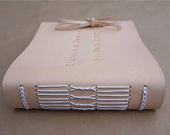 Personalized Leather Bound Photo Album Brown Leather Wedding