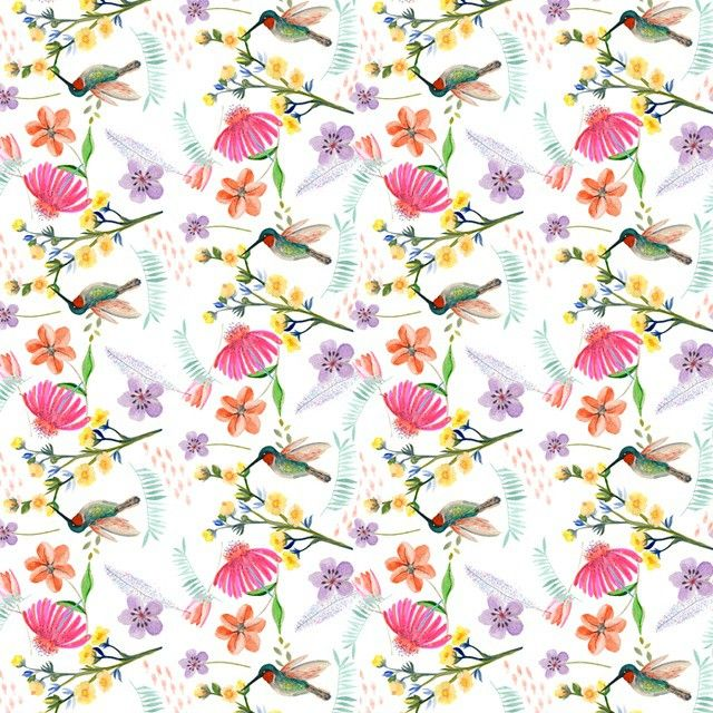 New pattern with humming bird. #artandpeople #illustration #pattern #lauraspatterns #wallpaper #fabric #flowers #garden #nature #bird