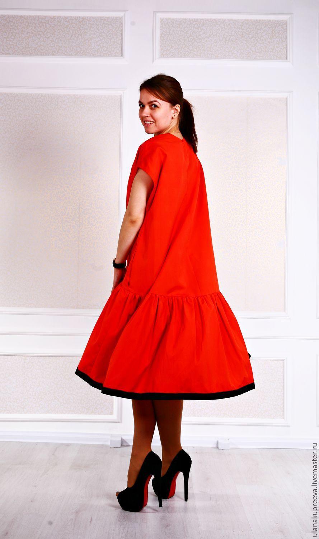 Купить Летнее платье из итальянского хлопка (Max Mara) - платье, платье с  воланом, платье с рюшей 2ee9aea364e