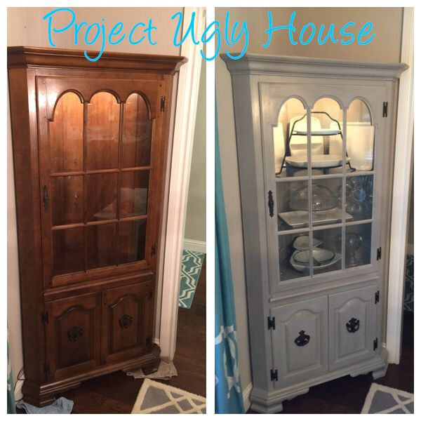 corner china cabinet refinished with paris gray annie sloan chalk paint project ugly house. Black Bedroom Furniture Sets. Home Design Ideas