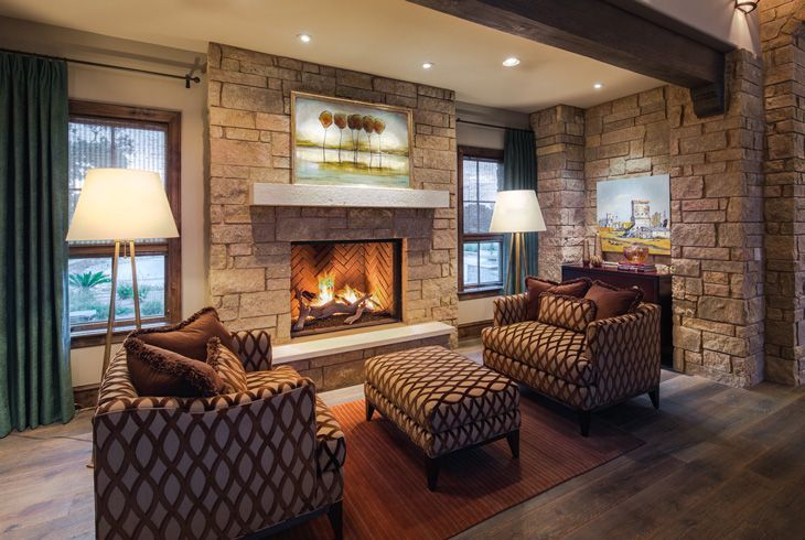 Inglenook Fireplace Family Room Living Interior Stone Modern Contemporary