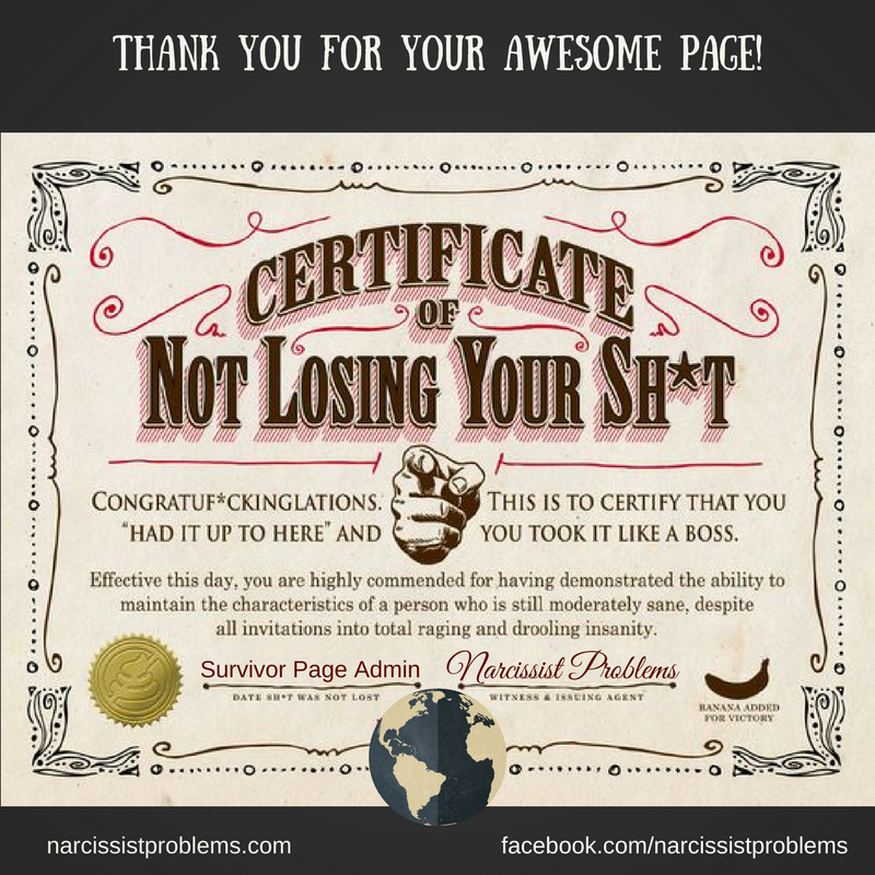 Certificate Of Not Losing Your Shit! #NPD