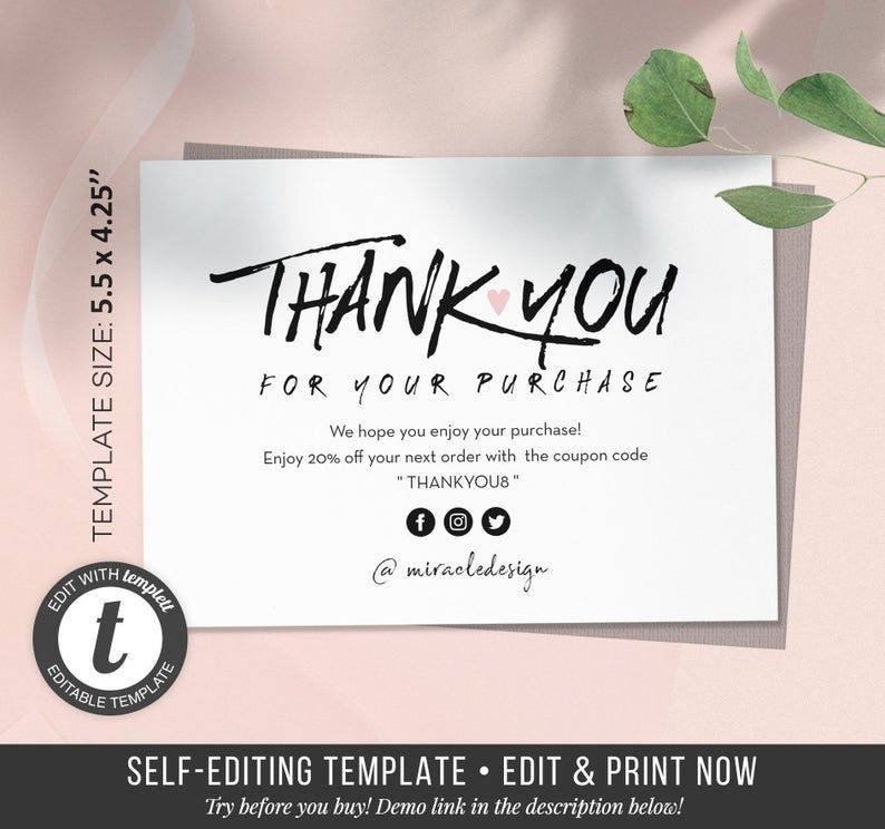 Business Thank You Card Order Inserts Template Instant Thank You Card Etsy Seller Online Store Cards Printables Package Inserts In 2021 Thank You Card Template Thank You Cards Business Thank You