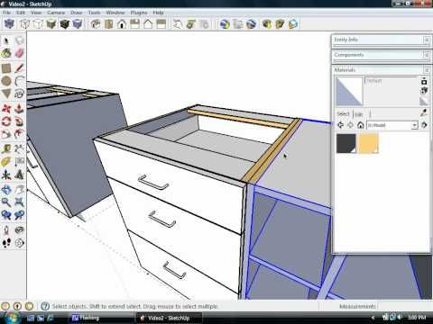 Google Sketchup Speed Drawing Kitchen Cabinet Youtube Kitchen