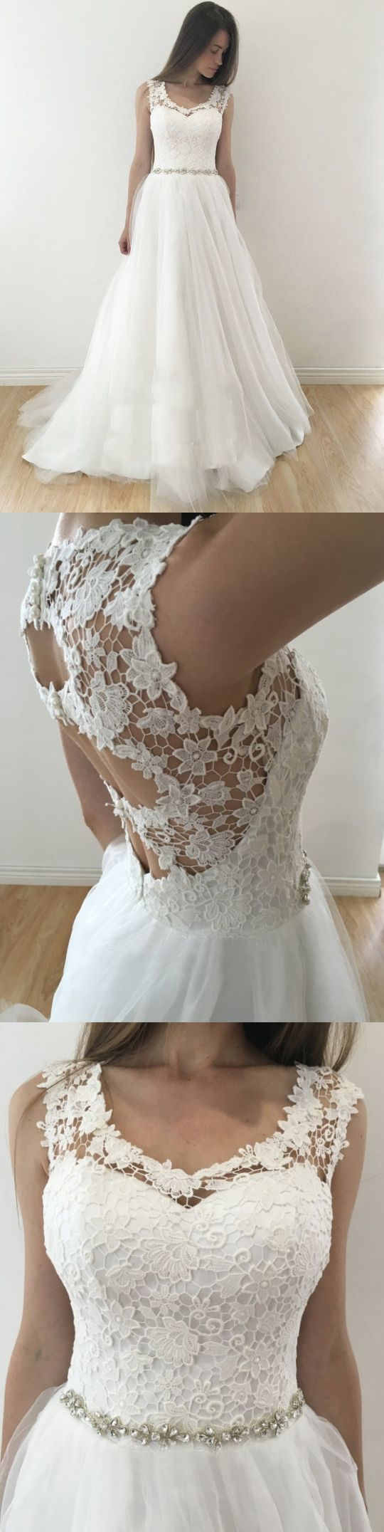 Unique wedding dresses aline rhinestone lace long chic bridal gown