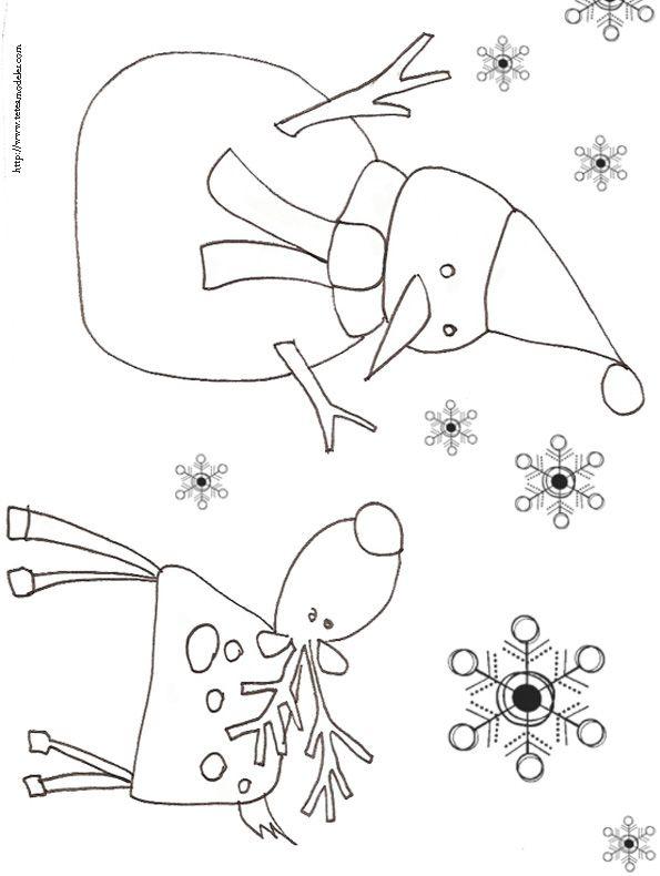 Coloriage du renne et du bonhomme de neige dessin 11 - Coloriage de renne ...