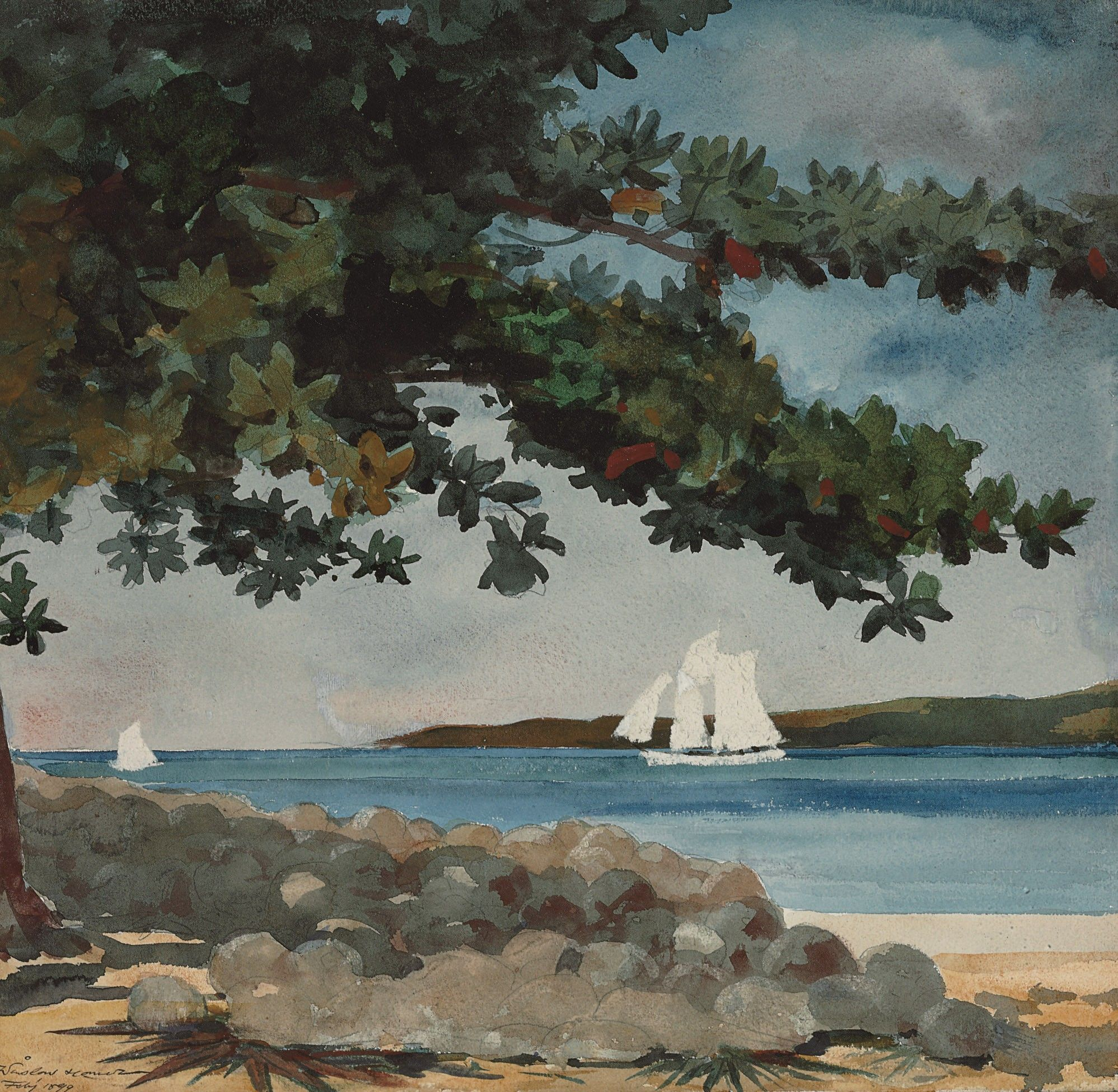 Watercolor art history - Nassau Water And Boat By Winslow Homer Watercolor Landscapewatercolor Artbeach