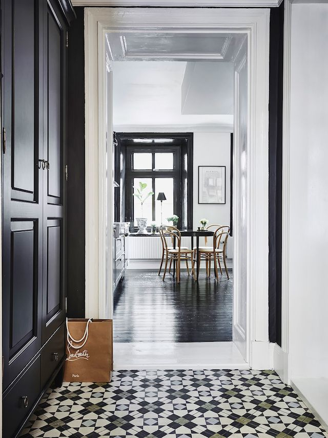 A Swedish Home With Dramatic Black Accents Interior Pinterest - Tiles-for-the-hallway