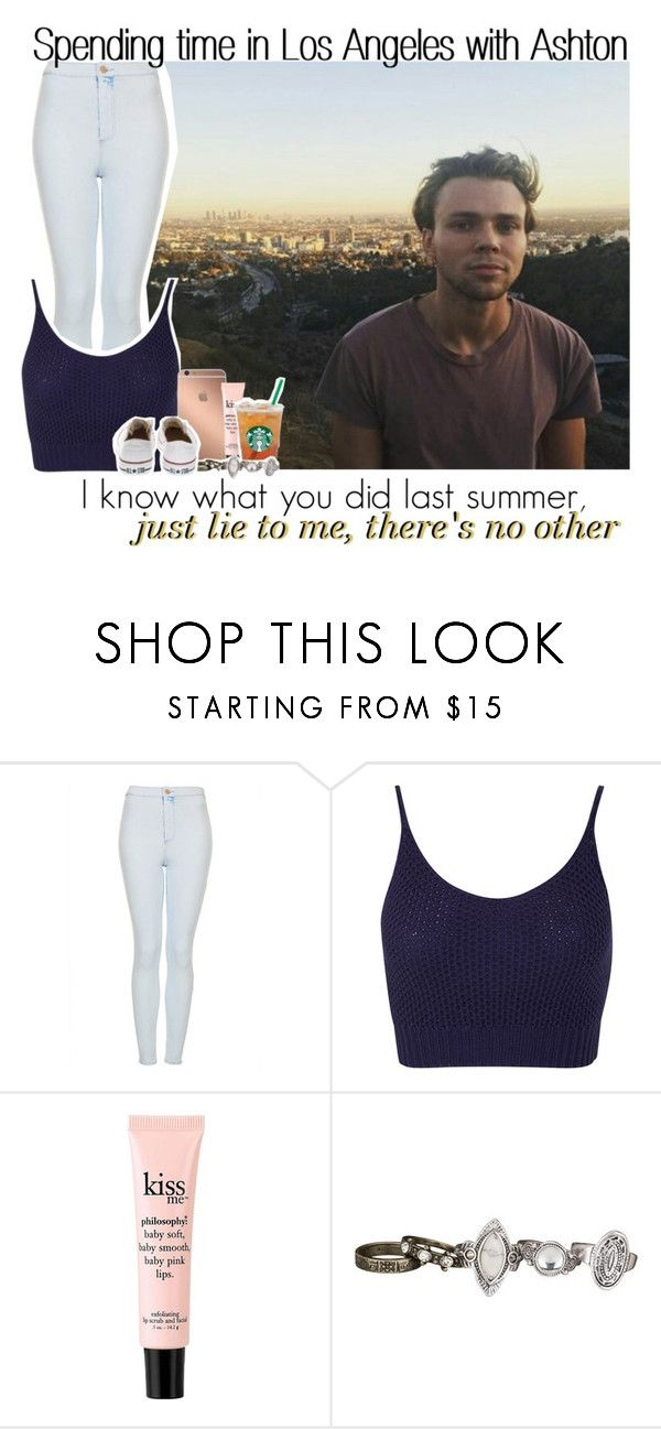 """Spending time in Los Angeles with Ashton"" by itsrockyedwardstyles ❤ liked on Polyvore featuring Topshop, Miss Selfridge, Mura, philosophy, maurices and Converse"