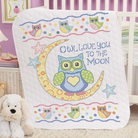 Baby by Herrschners® Owl Love You Baby Quilt Stamped Cross-Stitch ... : kits for baby quilts - Adamdwight.com