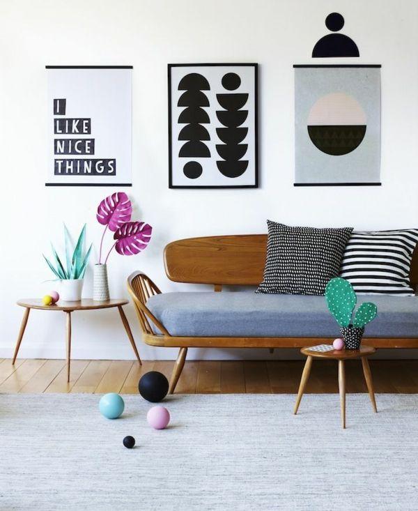 ideen zur wandgestaltung mit bildern wohnzimmer wände gestalten