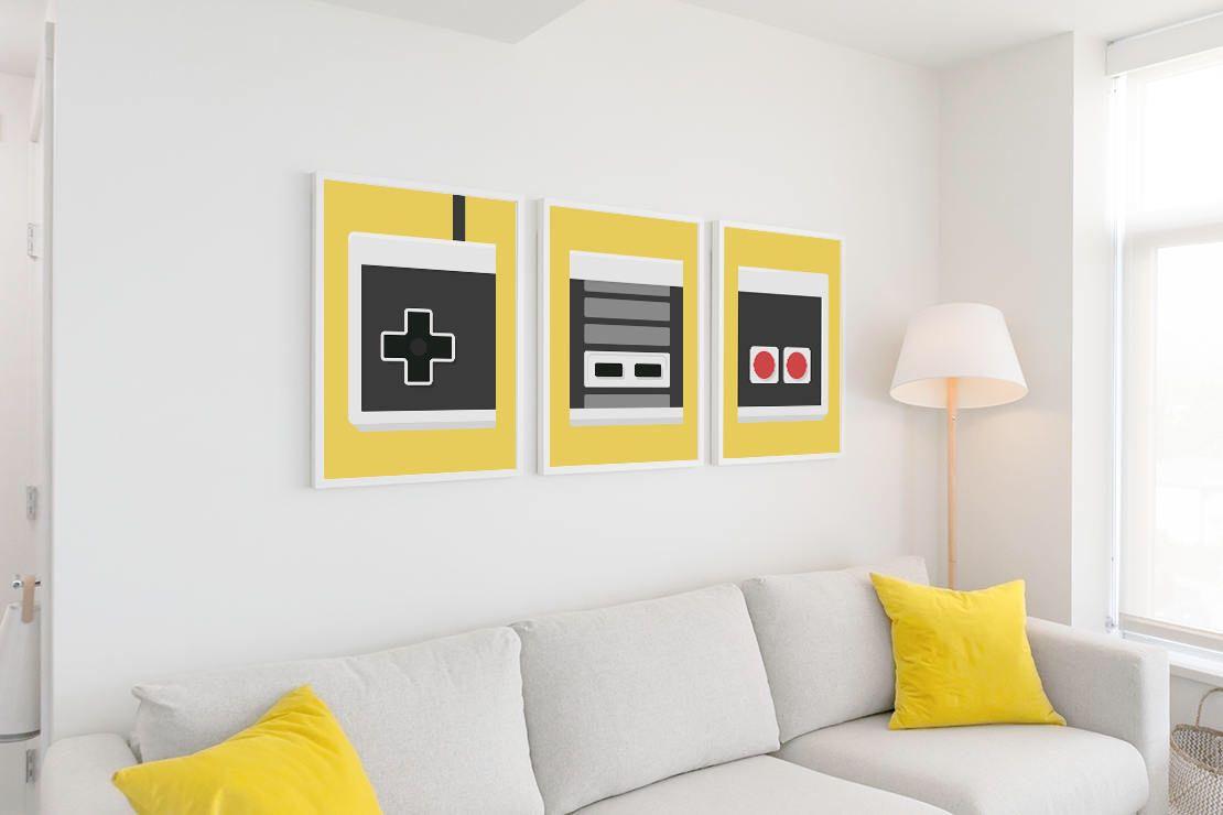 Nintendo Poster Set | Retro Poster Video Game Wall Art Game Pad ...