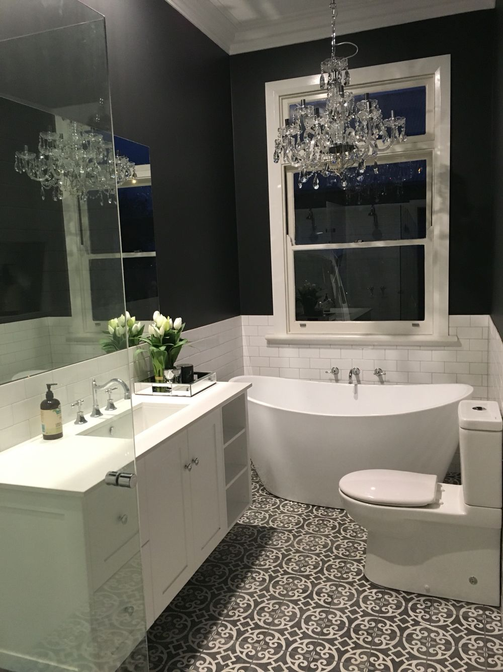 Grey And White Bathroom Floor Tiles Are Artisan Casablanca In Charcoal Wall Tiles Are 150x75 Charcoal Bathroom Artisan Tiles Bathroom White Bathroom Tiles