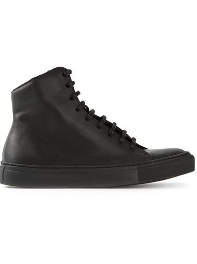 Not sure why but i want these shoes. Black leather 'Valgred' sneakers from The Last Conspiracy featuring a round toe, a lace-up front fastening, a silver-tone side zip fastening and a flat rubber sole.
