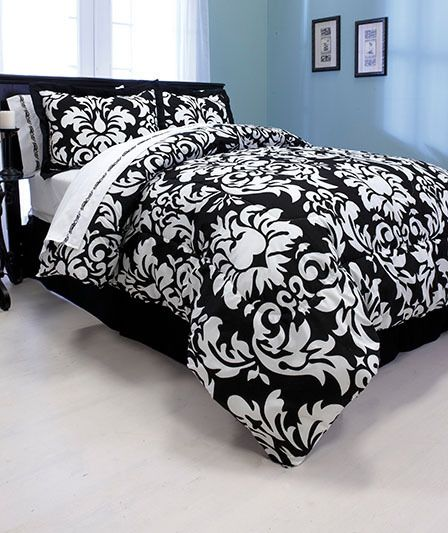 Denmask bedding set damask comforter set black and for Black damask bedroom ideas