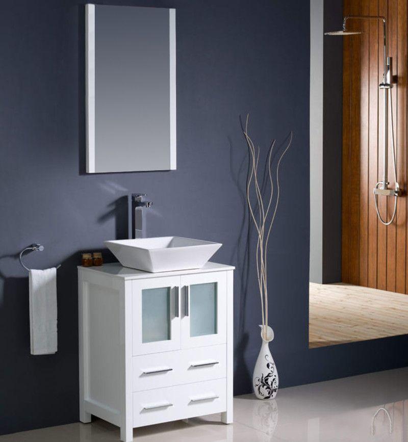 Fresca Fvn6224 Vsl White Vessel Sink White Rooms Modern Bathroom