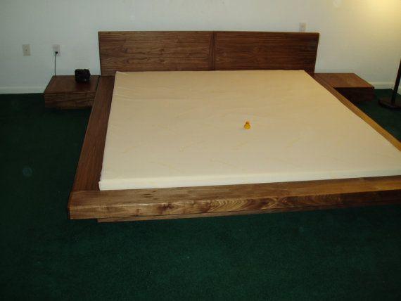 Walnut King platform bed. The original Japanese floating platform ...