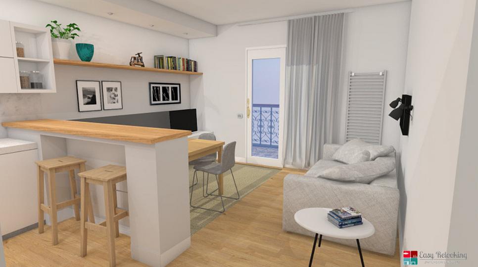 Progettazione di un soggiorno moderno con cucina a vista for Idee per arredare soggiorno moderno