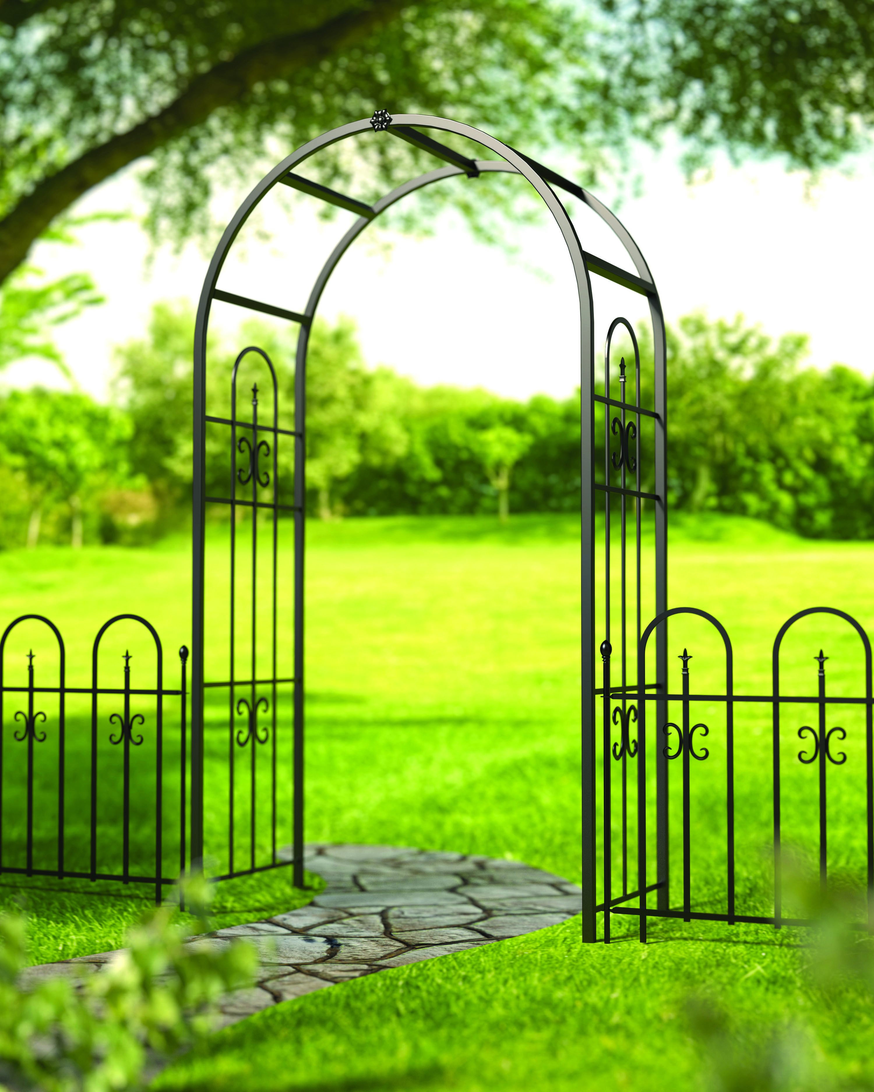 A Rugged New Steel Broadway Arbor With An Arched Top Provides A Grand Entrance To This Garden Garden Archway Garden Gate Design Garden Stairs