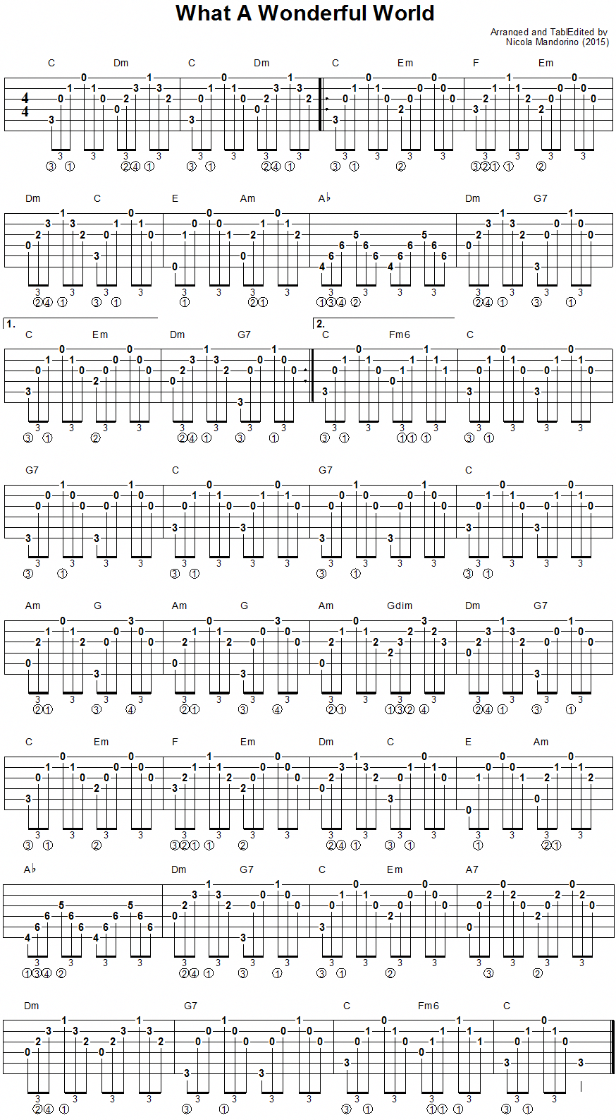 What A Wonderful World – guitar chords tab #singingscales – Solveighmempel