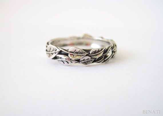e20b46f3579bc Silver Leaf Ring, Silver Leaves Ring, Leaves Friendship Ring ...