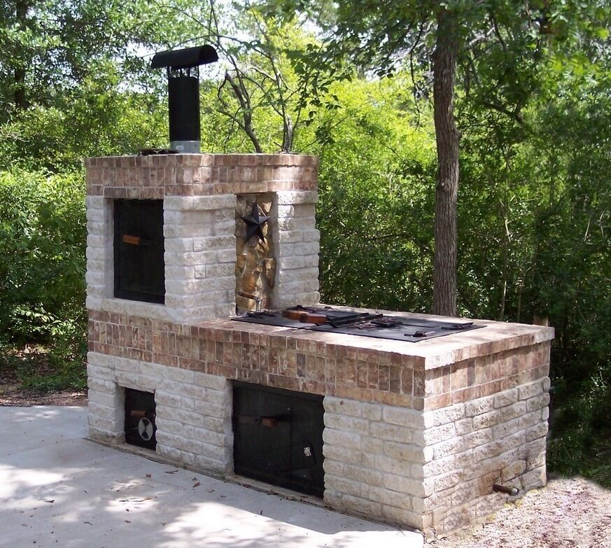 Anymasonry Bbq Pit Even If It Isn T This Exact Design A Video Of The Basic Construction In Mp4 And Wmv Formats Brick Bbq Backyard Fireplace Backyard Smokers