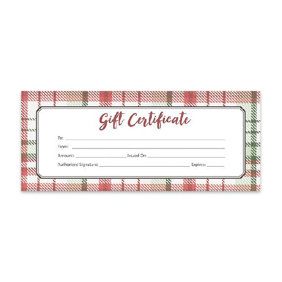 Red Flannel Plaid Christmas Blank Gift Certificate Gift