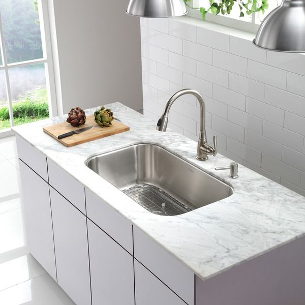 Kraus 31 5 Inch Undermount Single Bowl Steel Kitchen Sink