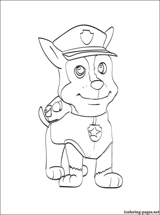 Chase paw patrol coloring page coloring pages color for Chase coloring page