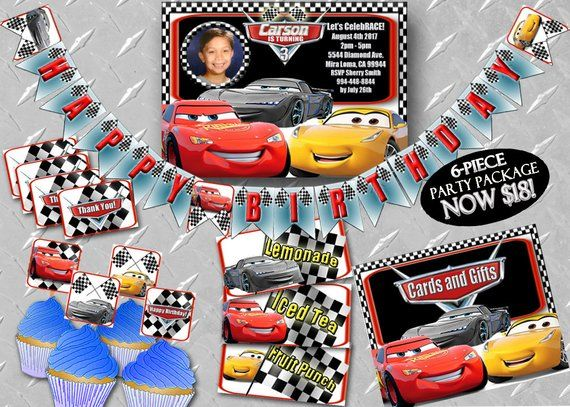 CARS 3 BIRTHDAY BANNER Printable Digital Cars Birthday Decorations Party Banner