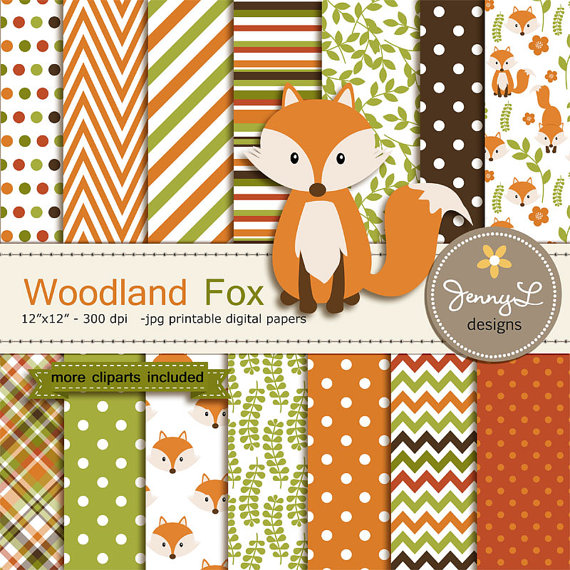 Woodland Animals Floral 12x12 Scrapbook Paper 4 Sheets