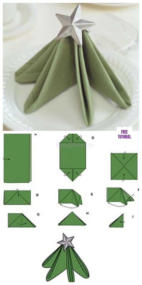 20+ Best DIY Napkin Folding Tutorials for Christmas #foldingnapkins