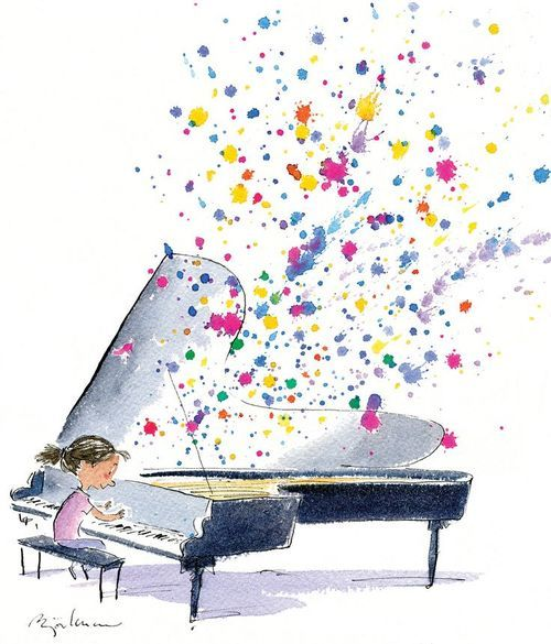 instead of piano, have children singing and watercolor ...