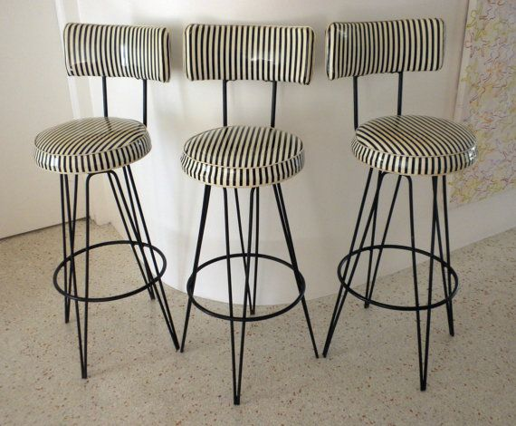 vintage industrial bar stools with backs canada reserved black white vinyl stripe swivel metal