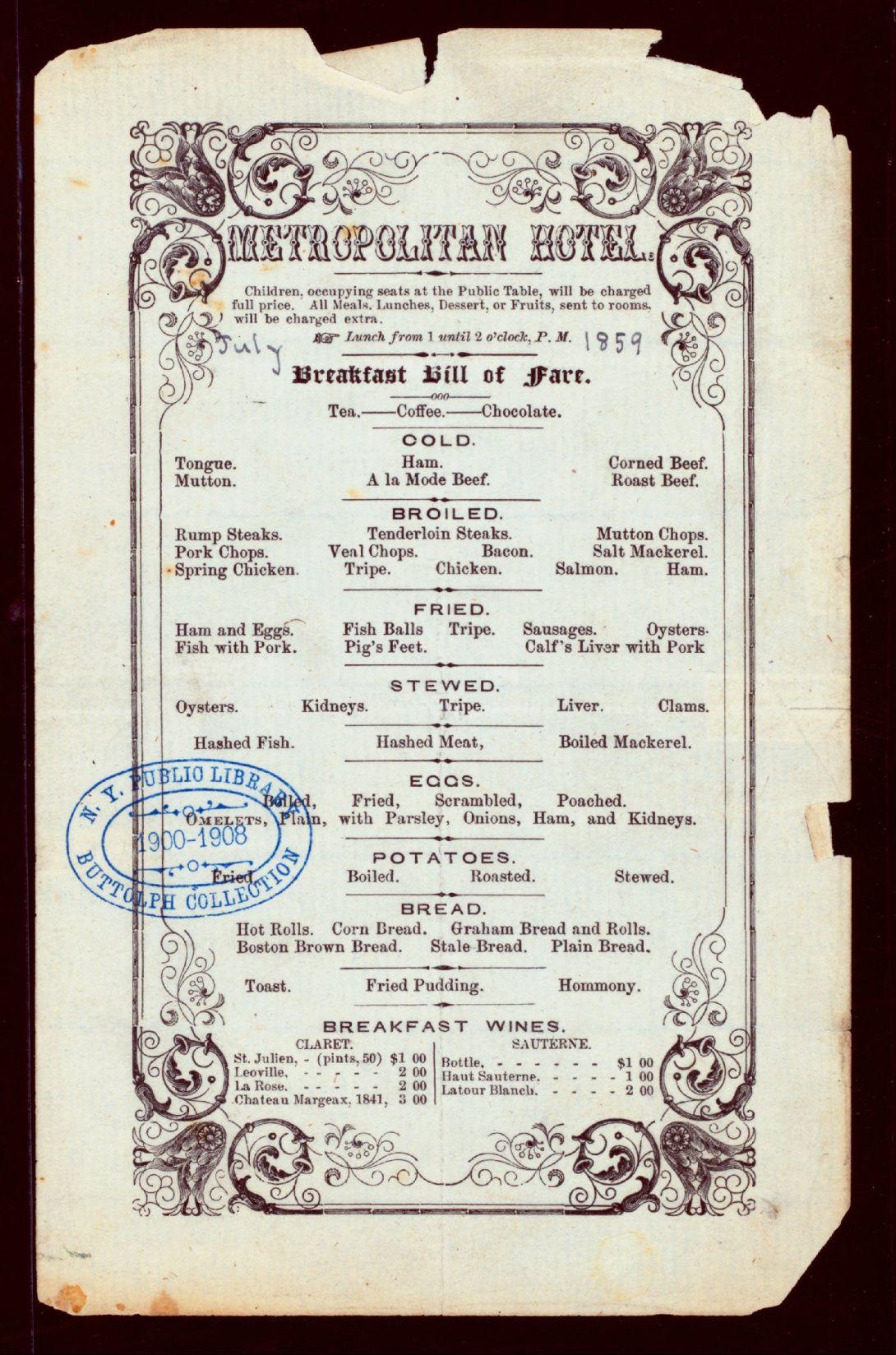 voici le menu du 1er juillet 1859 du metropolitan hotel de new york il est compose de soixante quatre plats au total dont œufs brouilles mouton froid