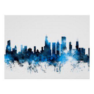 Watercolor City Skyline Poster | Watercolor Home Decor ...