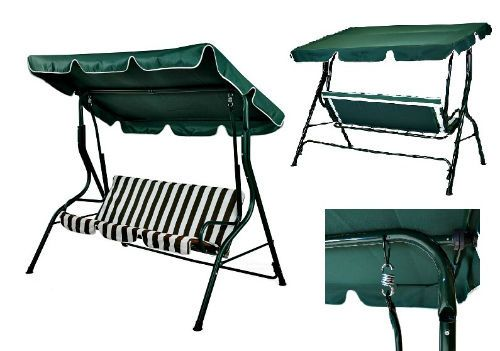 Details About Garden Swing Hammock 3 Seater Patio Chair Green Outdoor  Furniture Relax Lounger