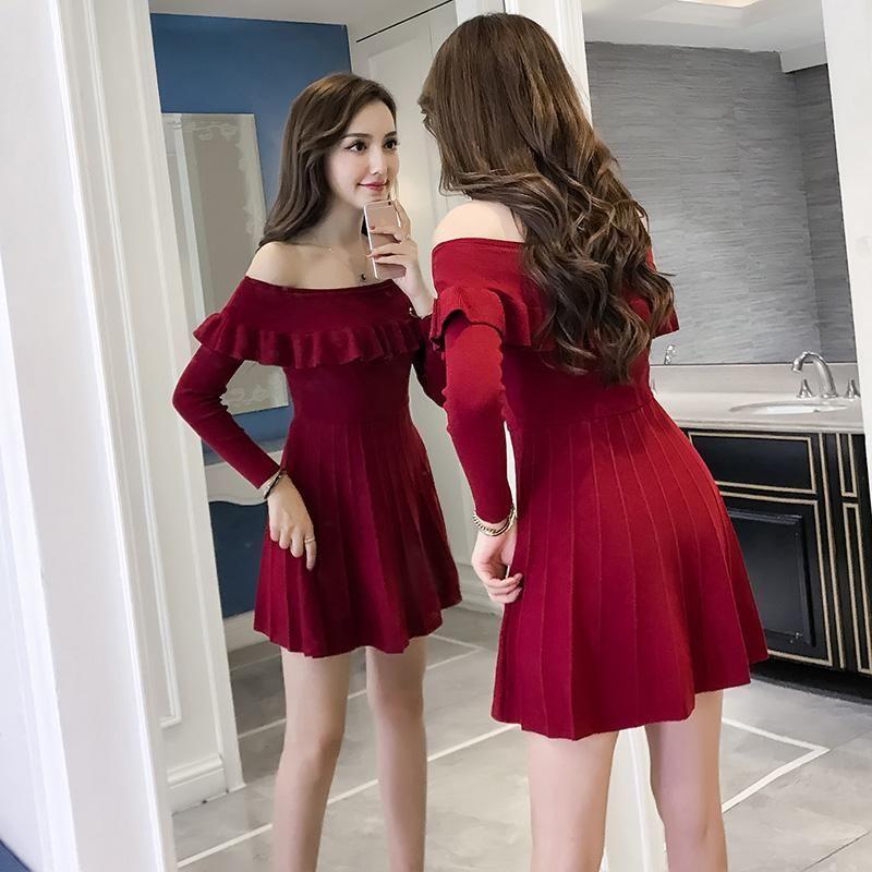 be99833a79 Korean Sexy Autumn Winter Shoulder less Dress SD01282