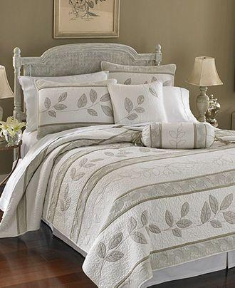 Lenox Bedding, Platinum Leaves Quilt Collection   Sale Quilts U0026 Bedspreads    Bed U0026 Bath