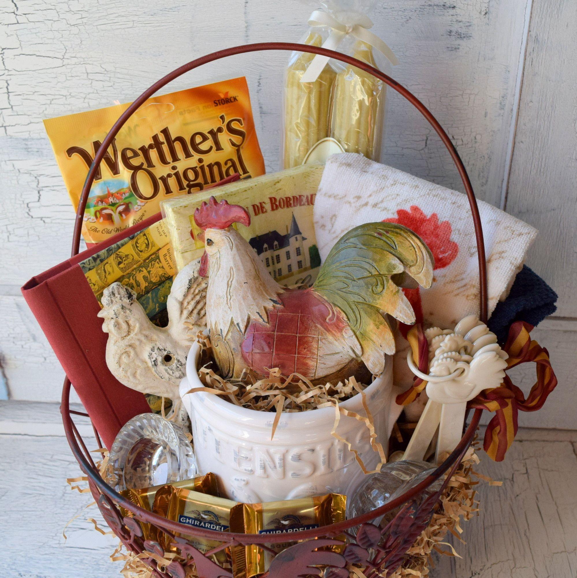 SOLD - Vintage Rooster Gift Basket   Gift, Vintage and Basket ideas