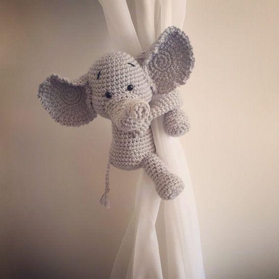 Curtain tie back, tieback, nursery, monkey, giraffe, panda, elephant ...