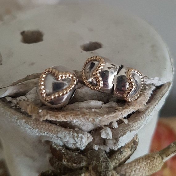 99a33a0ef Authentic Pandora Braided Love Heart Clip Charm Sterling Silver with 14K  Gold Hearts Hallmarked S925 ALE RETIRED 2015 Item # 790599 NWOT