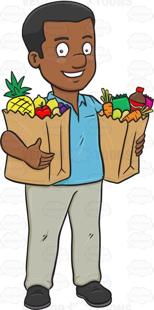a black man looking fulfilled after some grocery shopping vector rh pinterest com Grocery Shopping Clip Art Christmas Shopping Clip Art