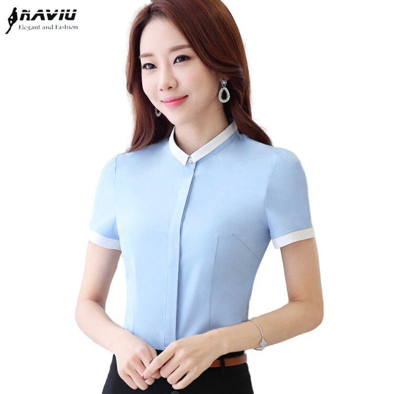 2016 Summer Sky Blue White Shirt Women Elegant Patchwork Short Sleeve Slim Chiffon Blouse Office Las Work Wear Plus Size Tops