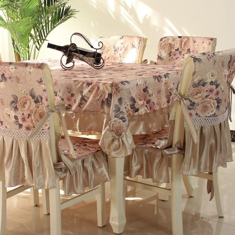 Hot Sale Fashion Dining Table Cloth Chair Covers Cushion Tables And Chairs Bundle Chair Cover Ru In 2020 Dining Room Chair Covers Dining Table Cloth Pink Dining Chairs