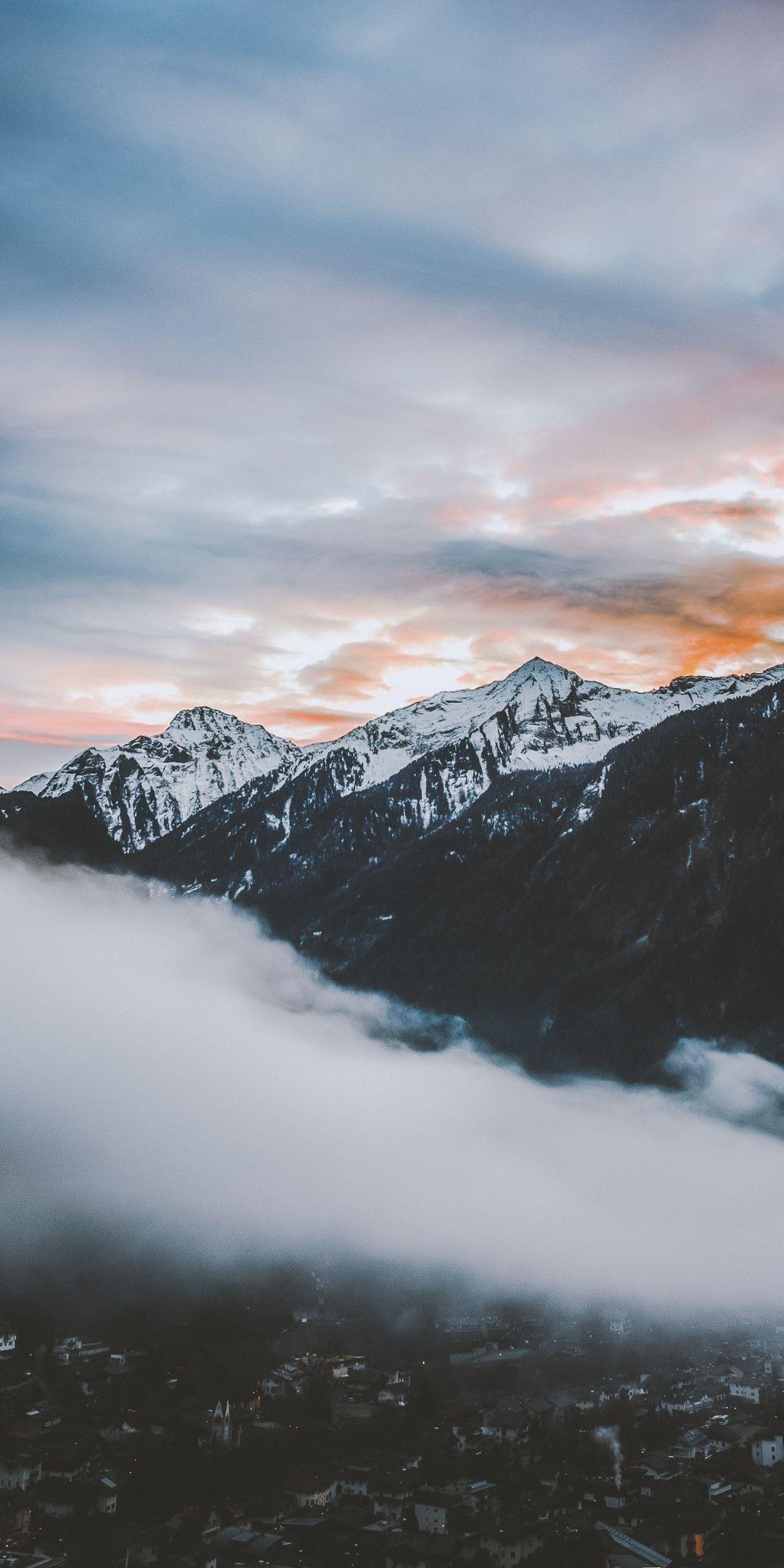 Clouds Mountains Sunset Nature 1080x2160 Wallpaper Mountain