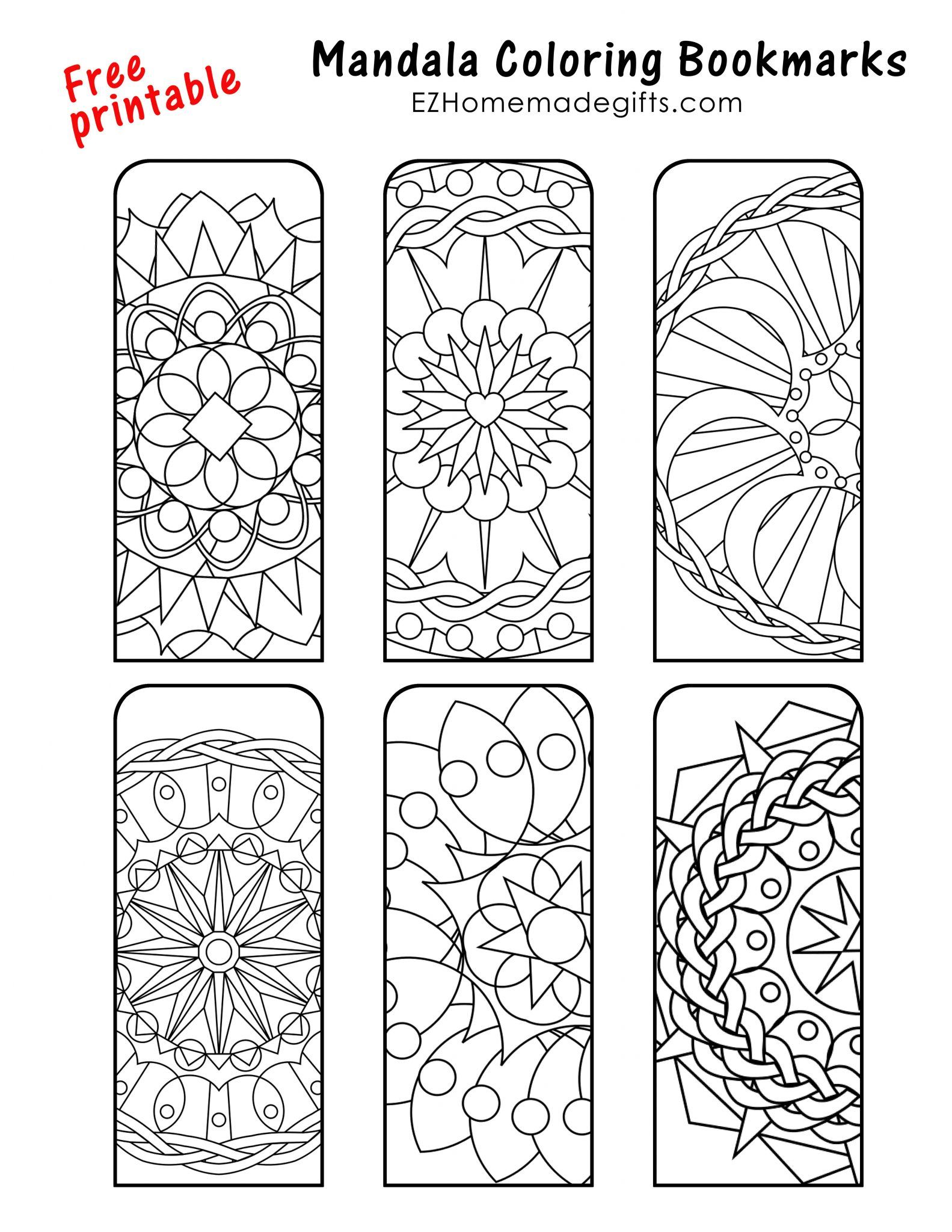 Mandala Bookmarks For You To Color Coloring Bookmarks Coloring