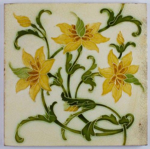 Antique Pilkington Arts Crafts Lewis F Day Ceramic Tile 1901 Art Nouveau Tiles Art Deco Tiles Tile Art